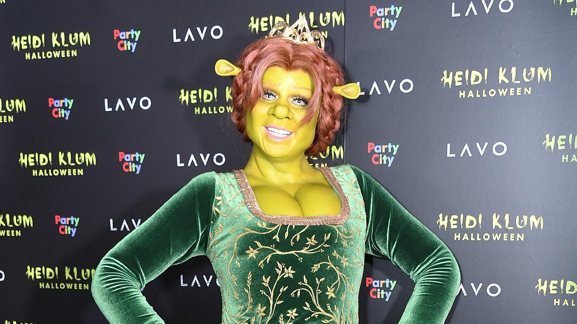 Heidi Klum como a Fiona, de Shrek, no Halloween