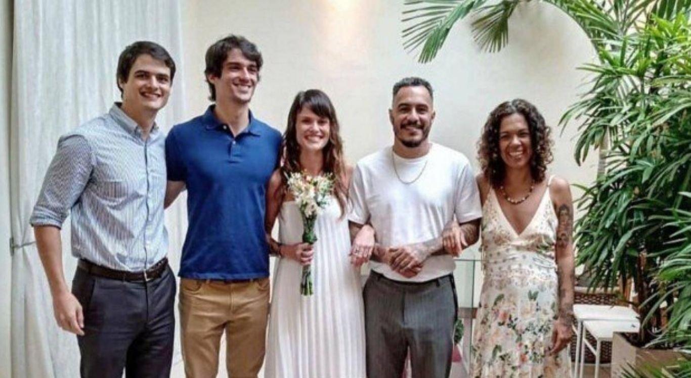 Marcelo D2 no casamento com Luiza Machado