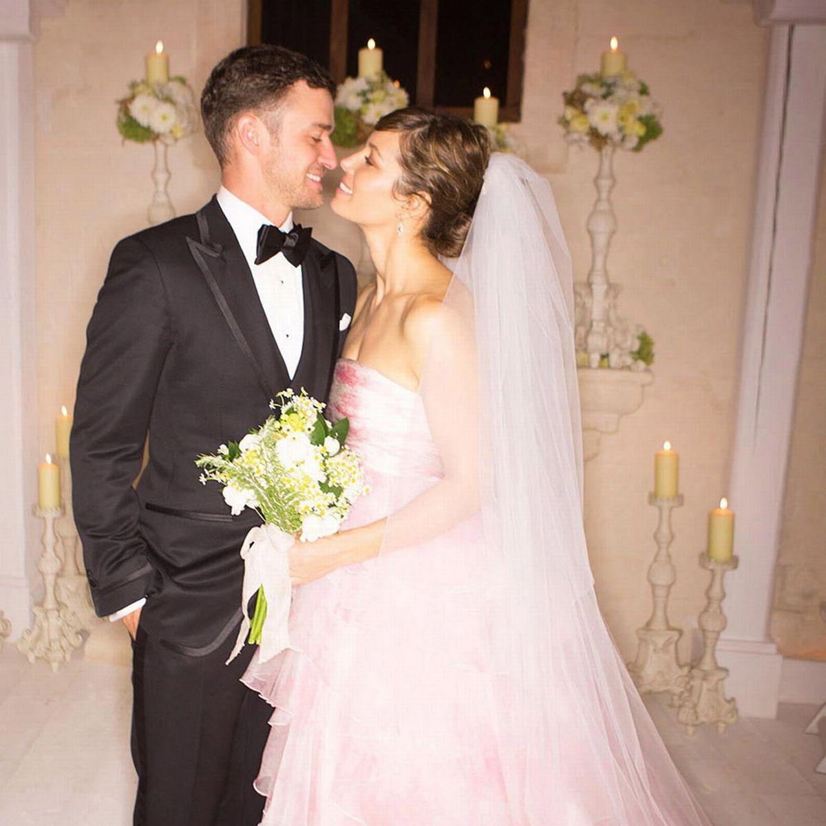 Jessica Biel no seu casamento com Justin Timberlake