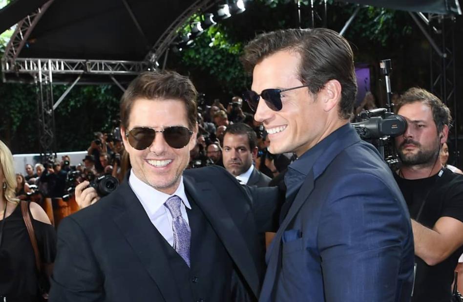 Henry Cavill e Tom Cruise na estreia de Missão Impossivel