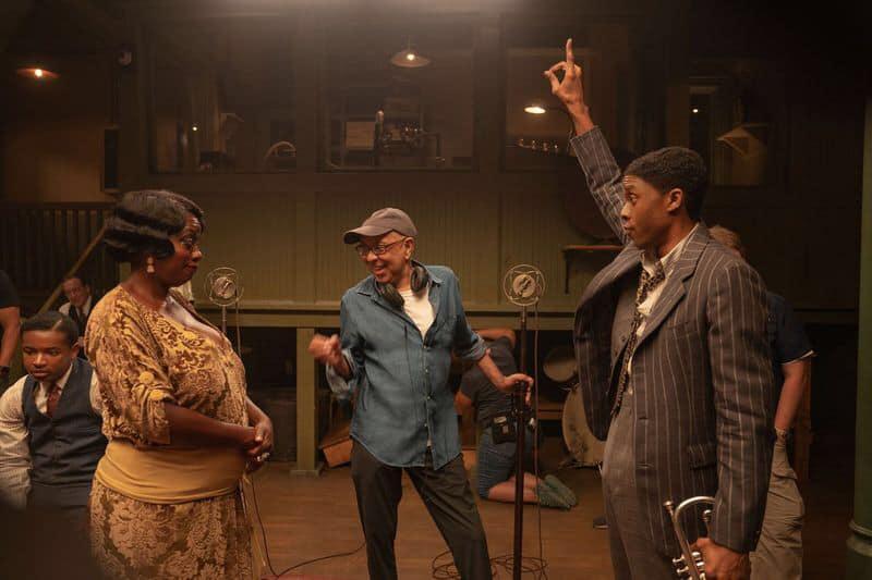 Viola Davis e Chadwick Boseman em gravação de Ma Rainey's Black Bottom