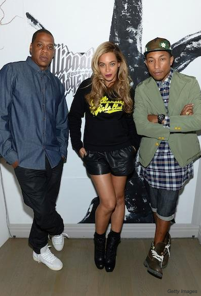 Pharrell Williams com Beyoncé e Jay-Z